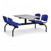 jedálenský set Biedrax JS3834S - modrá plastová sedadlá, doska sivá