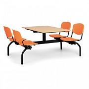 jedálenský set Biedrax JS3840B - oranžová plastová sedadlá, doska buk