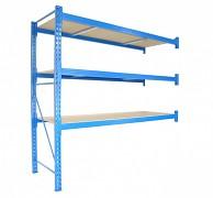 Profesionálny Regál BIEDRAX prídavný 100 x 150 x 350 cm, 3 police - nosnosť 350 kg/polica, modrý