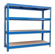 kovový regál Biedrax 60 x 160 x 180 cm, 4 police - modrý, nosnosť 200 kg na policu