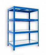 kovový regál Biedrax 35 x 60 x 90 cm - 4 police kovové x 120 kg, modrý