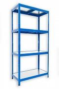 kovový regál Biedrax 35 x 75 x 180 cm - 4 police kovové x 120 kg, modrý