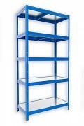 kovový regál Biedrax 35 x 60 x 180 cm - 5 políc kovových x 120 kg, modrý