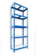 kovový regál Biedrax 35 x 60 x 210 cm - 5 políc kovových x 120 kg, modrý