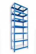 kovový regál Biedrax 35 x 60 x 270 cm - 7 políc kovových x 120 kg, modrý