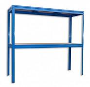 kovový regál Biedrax 60 x 200 x 180 cm, 2 police - modrý, nosnosť 200 kg na policu