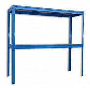 kovový regál Biedrax 60 x 240 x 180 cm, 2 police - modrý, nosnosť 200 kg na policu