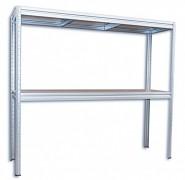 kovový regál Biedrax 60 x 160 x 180 cm, 2 police - zinok, nosnosť 200 kg na policu