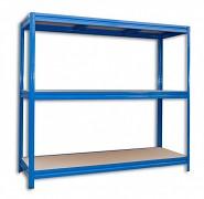 kovový regál Biedrax 60 x 160 x 180 cm, 3 police - modrý, nosnosť 200 kg na policu