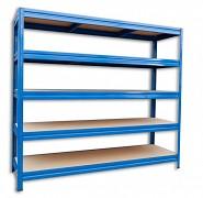 kovový regál Biedrax 60 x 240 x 180 cm, 5 políc - modrý, nosnosť 200 kg na policu