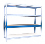polica k regálu kompletná - regál kovový, 60 x 240 cm - modrý, 200 kg na policu
