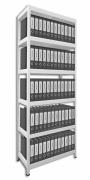 Regál na šanóny Biedrax 35 x 60 x 210 cm - 6 políc lamino x 175 kg, biely