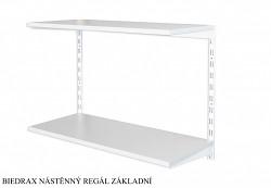 Nástenný regál základný 25 x 40 x 50 cm, 2 police - farba biela, police sivá