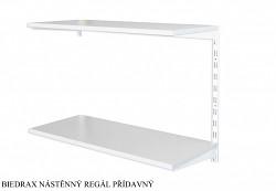 Nástenný regál prídavný 25 x 60 x 50 cm, 2 police - farba biela, police sivá