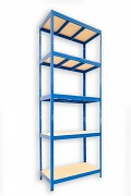 kovový regál Biedrax 45 x 90 x 240 cm - 5 políc x 275kg, modrý