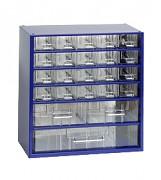 kovové skrinky so zásuvkami na drobný materiál - Biedrax 6731 modrá