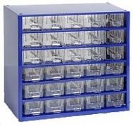 kovové skrinky so zásuvkami na drobný materiál - Biedrax 6762 modrá
