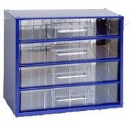 kovové skrinky so zásuvkami na drobný materiál - Biedrax 6766 modrá