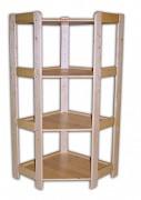 regál drevený masívny - rohový 60 x 60 x 127,5 cm, 4 police