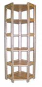 regál drevený masívny - rohový 60 x 60 x 204 cm, 6 polic