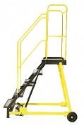 rebrík pojazdný plošinový schody plech s protiskluzovou páskou, 6 stupňov - ZP4604 Biedrax