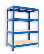 kovový regál Biedrax 60 x 120 x 120 cm - 4 police x 175kg, modrý