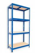 kovový regál Biedrax 35 x 75 x 180 cm - 4 police x 175kg, modrý