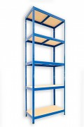 kovový regál Biedrax 35 x 75 x 240 cm - 5 políc x 175kg, modrý