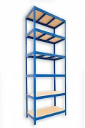 kovový regál Biedrax 35 x 75 x 210 cm - 6 políc x 275kg, modrý