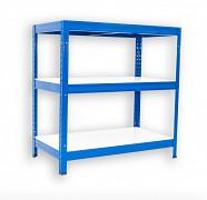kovový regál Biedrax 35 x 75 x 120 cm - 3 police lamino x 175 kg, modrý