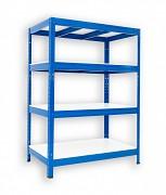 kovový regál Biedrax 35 x 75 x 120 cm - 4 police lamino x 275 kg, modrý