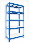 kovový regál Biedrax 35 x 75 x 180 cm - 5 políc lamino x 275 kg, modrý