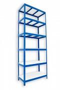 kovový regál Biedrax 35 x 75 x 210 cm - 6 políc lamino x 275 kg, modrý
