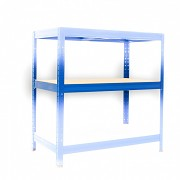 polica k regálu kompletná - regál kovový, 35 x 75 cm - modrý