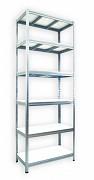 kovový regál Biedrax 35 x 75 x 210 cm - 6 políc x 275 kg, pozinkovaný, biele police lamino