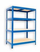 kovový regál Biedrax 45 x 75 x 120 cm - 4 police x 175kg, modrý
