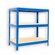 kovový regál Biedrax 35 x 120 x 120 cm - 3 police x 175kg, modrý