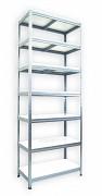 kovový regál Biedrax 35 x 60 x 240 cm - 7 políc x 175 kg, pozinkovaný, biele police lamino