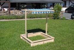 pieskovisko drevené s lavičkami a strieškou BIEDRAX 115 x 115 x 20 cm