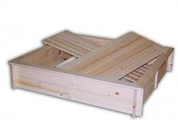 pieskovisko drevené s lavičkami a krytom BIEDRAX 140 x 140 x 30 cm
