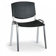 konferenčná plastová stolička, čierna Biedrax Z8994C, chrómované nohy
