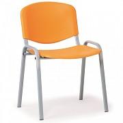 konferenčná plastová stolička, oranžová Biedrax Z9522O, sivé nohy