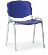 konferenčná plastová stolička, modrá Biedrax Z9522M, sivé nohy