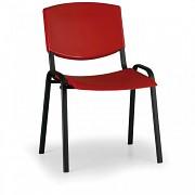 konferenčná plastová stolička, červená Biedrax Z8982CV, čierne nohy