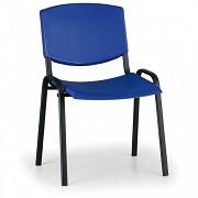 konferenčná plastová stolička, modrá Biedrax Z8982M, čierne nohy