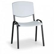 konferenčná plastová stolička, šedá Biedrax Z8982S, čierne nohy