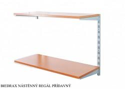 Nástenný regál prídavný 25 x 40 x 50 cm, 2 police - farba strieborná, police čerešňa