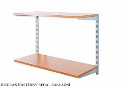 Nástenný regál základný 30 x 40 x 50 cm, 2 police - farba strieborná, police čerešňa