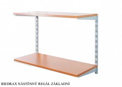 Nástenný regál základný 50 x 40 x 50 cm, 2 police - farba strieborná, police čerešňa