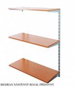 Nástenný regál prídavný 50 x 60 x 100 cm, 3 police - farba strieborná, police čerešňa